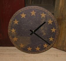 Americana Wall CLOCK*Navy Blue*13 Gold Star*Primitive Colonial Decor*New!