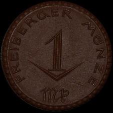 NOTGELD: 1 Mark 1921 ohne Kreuz, Porzellan. STADT FREIBERG / SACHSEN.