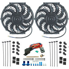 "DUAL 12"" INCH ELECTRIC RADIATOR COOLING FANS FIN PROBE FAN THERMOSTAT SWITCH KIT"