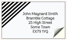 Stylish personalised name and address labels - A4 sheet of 21 sticky labels b/w