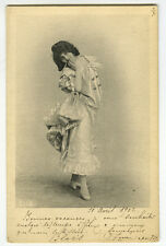 c 1902 Lovely Lady Dancing Elise De Vere ? Dancer  Dancing tinted photo postcard
