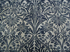 William Morris Curtain Fabric  'Bluebell' 2.6 METRES Black/Manilla 100% Cotton