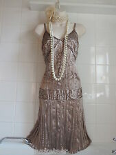 NEW LOOK Vintage 1920's Mink Sequin Bead Crinkle FLAPPER Charleston Gatsby Dress