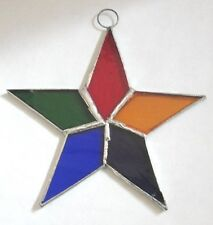 Lot of 10  Stained Glass Flat STARS Iridescent MULTI COLOR Christmas Ornaments !