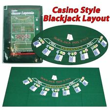 "Blackjack 36 x 72"" Layout Table Top Green Mat Portable Cover Felt Casino Game"