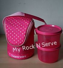 Tupperware Lunch Bag Set w/ 2 Bowls 2 cup/450ml  Pink New
