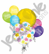 7 pc Happy Birthday Flowers & Butterflies Balloon Bouquet Party Decoration Girl