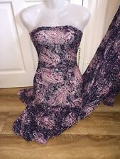 "5 MTR NAVY/PINK PAISLY FLORAL PRINT LACE NET LYCRA STRETCH FABRIC60"" WIDE £24.99"
