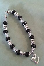 Black glass pearl melanoma (skin cancer) awareness bracelet