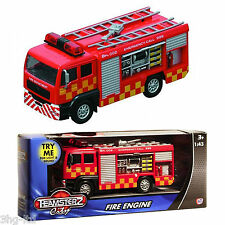 TEAMSTERZ Red Fire Engine Toy With Lights & Sound Diecast Model Truck New