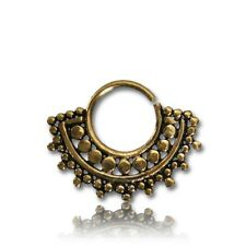ORNATE 14G BRASS HANGING SEPTUM 9MM RING DIAMETER NOSE TRIBAL DESIGN AFGHAN