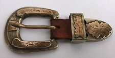 3D VINTAGE TAXCO MEXICO STERLING SILVER 10K GOLD OVERLAY FLOWER BELT BUCKLE
