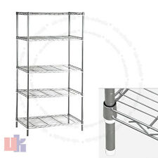 5 Tier Chrome Heavy Duty Steel Kitchen Garage Storage Shelving Shelf Rack UKED