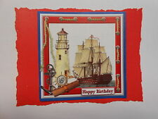 PACK 2 LIGHT HOUSE SHIP EMBELLISHMENTS FOR CARDS AND CRAFTS - HAPPY BIRTHDAY