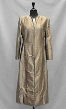 A0 Auth GIORGIO ARMANI Beige Metallic 100% Silk Zip Front Long Coat Jacket Sz 46