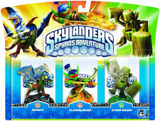 Skylanders Spyros Adventure Drobot + Flameslinger + Stump Smash Wii PS3 XBOX 360