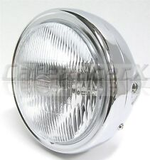 """Chrome Metal 6-1/2"""" Motorcycle Headlight Assembly Side Mount Caferacer Honda CB"""