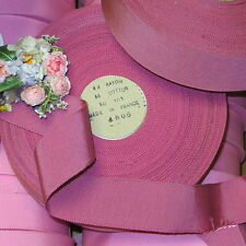 "1y VTG 1.5"" DARK PINK FRENCH GROSGRAIN MILLINERY RIBBON COCARDE TRIM HAT WORK"
