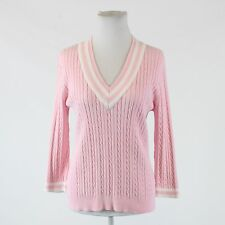 Light pink 100% cotton CHAPS 3/4 sleeve white trim cable knit v-neck sweater L
