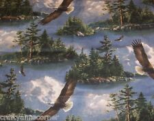 Hautman Brothers Eagles Valance Woodland Cabin Lodge Nature scene