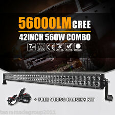 "42""INCH 560W CREE LED LIGHT BAR SPOT FLOOD COMBO WORK 4D+ LAMP OFFROAD SUV TRUCK"