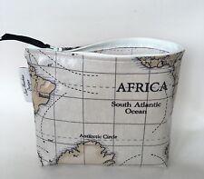 Pencil Case Makeup Bag In World maps oilcloth