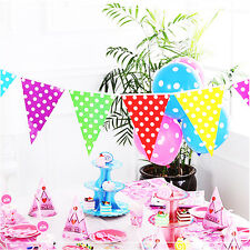 Multi-Color Paper Flag Polka Dot Bunting Banner Pennant Birthday Decoration 2.5M