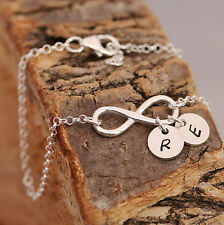Handmade Bespoke Bridal Personalised Sterling Silver Infinity Knot + 2 Initials
