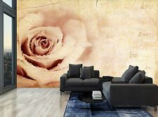 Vintage Rose Flower Words Love Wall Mural Photo Wallpaper GIANT WALL DECOR