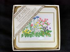 """Top Table Set of Four Coasters """"Meadow Flowers"""" Vintage NOS in Original Wrapper"""