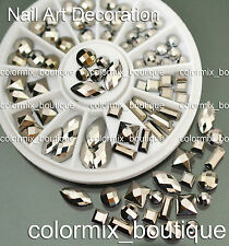 #S17 3D Rivets Nail Art Tips Decoration Square Round Oval Metallic Studs+Wheel