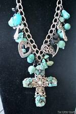 Cross  Necklace Chunky Women's Jewelry Faux Silver Faux Turquoise Fashion B9