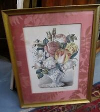 """Antique Currier & Ives """"VASE OF FLOWERS"""" Dated 1870 Fine Fabric Mat Great Price!"""