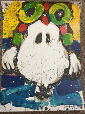 TOM EVERHART signed SNOOPY ACE FACE Charles Schulz Peanuts COA Charlie Brown