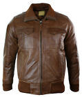 Mens Real Leather Jacket Bomber Tan Brown Smart Casual Fitted Retro Vintage Look