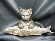 Vintage Bronze (not spelter) Cat and Fish Pen Rest