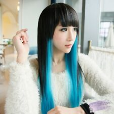 Cosplay Party Fashion Women's Lady Long Wavy Curly Hair Full Wigs Gradient Wig 1