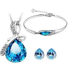 Caratcube Blue Water Drop Style Austrian Crystal Pendant Set,Earrings & Bracelet