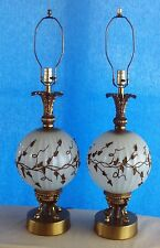 Pair Vintage Mid Century Hollywood Regency Glass Table Lamps Applied Flowers
