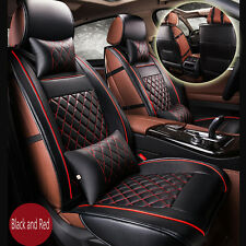 Luxury Breathable PU Leather Front Car Seat Cover Set Cushion Black and Red