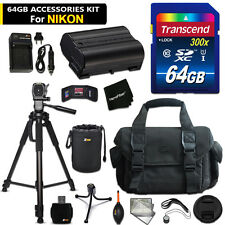 64GB ACCESSORIES Kit for Nikon 1 V1 w/ 64GB Memory + Battery + Case + MORE