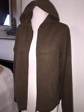 Mint! LORD & TAYLOR Brown Lux Soft 2 Ply Cashmere Zip Up Hoodie Jacket L