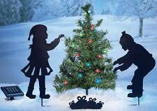 """Cute Children Trimming a Christmas Tree Yard Stakes w/Solar Lights 4-Pc Set 24""""H"""