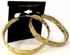 """ROCAWEAR Gold Tone HOOP 2.5"""" Fashion EARRINGS (MSRP: $22) - New with Tags"""
