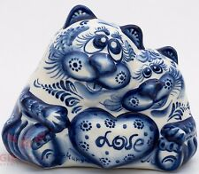 Puss Kitty cats couple love penny box bank Collectible Gzhel Porcelain Figurine
