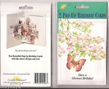 2 Creative Horizons Old Fashioned Pop Up Birthday Cards NIP Flowers Butterfly