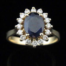 Vintage Sapphire Diamonds 14k Yellow Gold Cocktail Ring Engagement Halo Estate