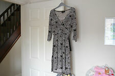 NEXT DRESS PETITE SIZE 16 BROWN/BLACK/CREAM WITH 3/4 LENGTH SLEEVES