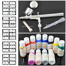 PROFESSIONAL NAIL ART AIRBRUSH KIT SET Paint Stencil Design Dual Action 235