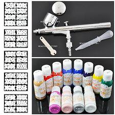 Profesional Nail Art Airbrush Kit Set De Pintura de plantilla de diseño de doble acción 235